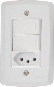 Tramontina Lux 2 Interruptores Simples C/ Tomada 2P+T 10A