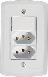 Tramontina Lux Interruptor Simples C/ 2 Tomadas 2P+T 10A