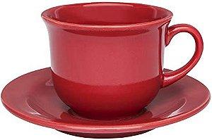 Oxford Xícara Chá C/ Prato Floreal Vermelho