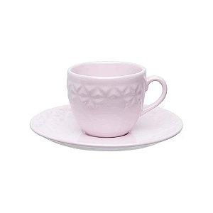 Oxford Xícara Chá C/ Prato Quartzo Rosa 200mL