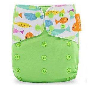 Fralda verde com peixinhos