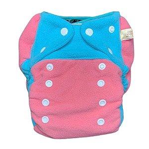 Fralda ecológica noturna pocket Mayaru rosa e azul