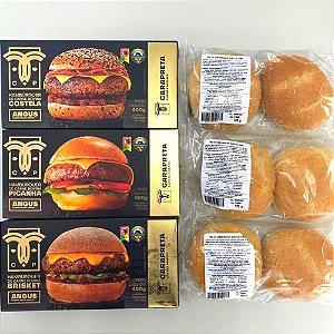 3 Hambúrgueres (Picanha, Brisket e Costela) + Ganhe Kit Pão