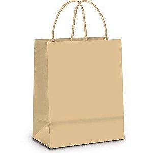 Sacola Kraft Lisa - alça torcida - embalagem com 10 unidades