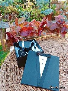 """Caixa """"Black Tie"""" (sachê, toalha, banheira e sabonete)"""