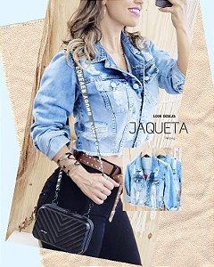 Jaqueta Jeans Destroyed com botões encapados