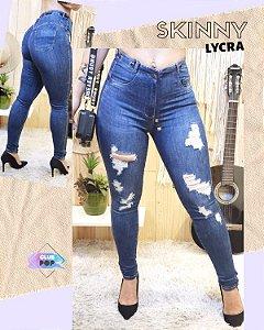 Calça Jeans Skinny Destroyed Escura
