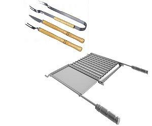 Kit grelha inox com chapa auxiliar + conj. garfo faca e pegador