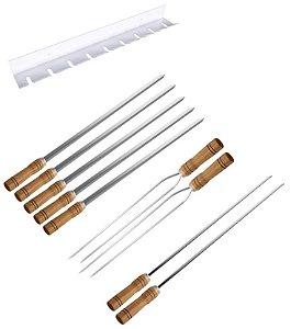 Kit / Conj. suporte + 5 espetos simples + 2 espetos duplo + 2 espetos p/coração cabo madeira 80 cm de lâmina