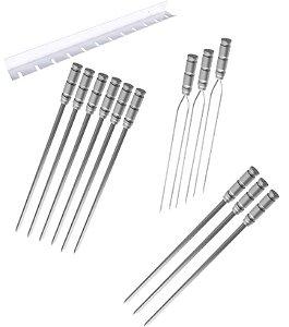 Kit / Conj. suporte + 6 espetos simples + 3 espetos duplo + 3 espetos p/coração cabo alumínio 60 cm de lâmina