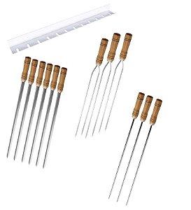 Kit / Conj. suporte + 6 espetos simples + 3 espetos duplo + 3 espetos p/coração cabo madeira 70 cm de lâmina