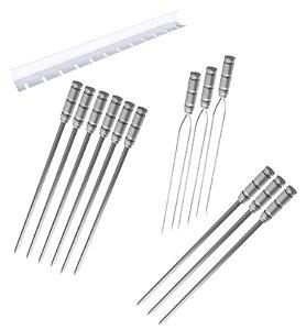 Kit / Conj. suporte + 6 espetos simples + 3 espetos duplo + 3 espetos p/coração cabo alumínio 80 cm de lâmina