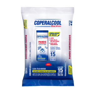 Panos Umedecidos Coperalcool Bacfree 70INPM Embalagem de Bolso - Clássico - 15 Panos - Caixa com 12 Unidades