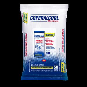 Panos Umedecidos Coperalcool Bacfree 70INPM Embalagem Econômica - Clássico - 50 Panos - Caixa com 12 Unidades
