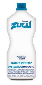 Álcool Zulu 70 INPM Bactericida 1 Litro - Caixa com 12 Unidades