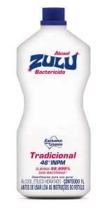 Álcool Zulu Evolution 46 INPM Tradicional 1 Litro - Caixa com 12 Unidades