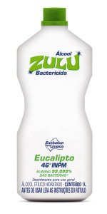 Álcool Zulu Evolution 46 INPM Eucalipto 1 Litro - Caixa com 12 Unidades