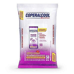 Panos Umedecidos Coperalcool Bacfree 70°INPM Embalagem Econômica Lavanda Oriental 50 Panos