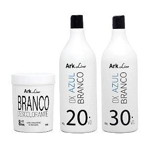1 PÓ DESCOLORANTE BRANCO  500G + 2 OX AZUL BRANCO
