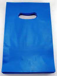 Sacola Plástica Alça Boca de Palhaço Cor Azul 30cm X 40cm Pacote Com 10