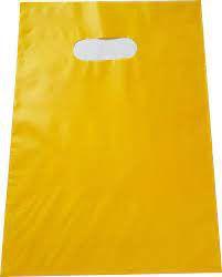 Sacola Plástica Alça Boca de Palhaço Cor Amarelo 30cm X 40cm Pacote Com 10