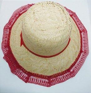 Chapéu de Palha Com Renda Cor Sortida Diâmetro 17cm x 17cm R.c041 Unidade