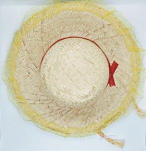 Chapéu de Palha Brasilia Com Trança e Renda Cor Sortida Diâmetro 18cm x 18cm R.c027 Unidade
