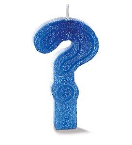 Vela de Aniversário Siba Interrogação Plus Cor Azul com Glitter Unidade