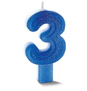 Vela de Aniversário Siba Número 3 Plus Cor Azul com Glitter Unidade