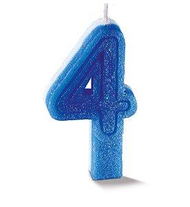 Vela de Aniversário Siba Número 4 Plus Cor Azul com Glitter Unidade