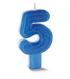 Vela de Aniversário Siba Número 5 Plus Cor Azul com Glitter Unidade