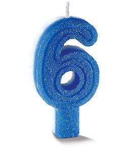 Vela de Aniversário Siba Número 6 Plus Cor Azul com Glitter Unidade