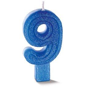 Vela de Aniversário Siba Número 9 Plus Cor Azul com Glitter Unidade