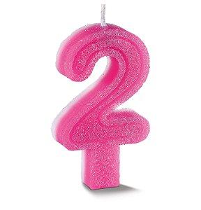 Vela de Aniversário Siba Número 2 Plus Cor Rosa com Glitter Unidade