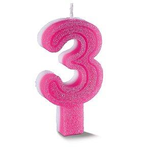 Vela de Aniversário Siba Número 3 Plus Cor Rosa com Glitter Unidade