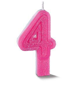 Vela de Aniversário Siba Número 4 Plus Cor Rosa com Glitter Unidade