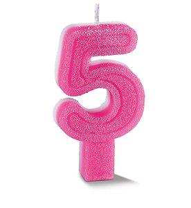 Vela de Aniversário Siba Número 5 Plus Cor Rosa com Glitter Unidade