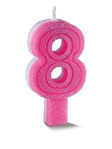 Vela de Aniversário Siba Número 8 Plus Cor Rosa com Glitter Unidade