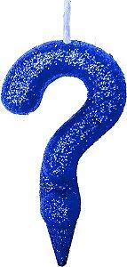 Vela de Aniversário Siba Interrogação Shine Cor Azul com Glitter Unidade