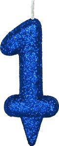 Vela de Aniversário Siba Número 1 Shine Cor Azul com Glitter Unidade