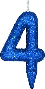 Vela de Aniversário Siba Número 4 Shine Cor Azul com Glitter Unidade