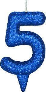 Vela de Aniversário Siba Número 5 Shine Cor Azul com Glitter Unidade