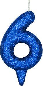 Vela de Aniversário Siba Número 6 Shine Cor Azul com Glitter Unidade