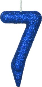 Vela de Aniversário Siba Número 7 Shine Cor Azul com Glitter Unidade