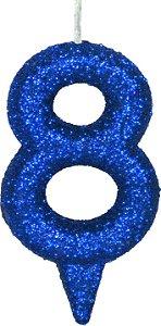 Vela de Aniversário Siba Número 8 Shine Cor Azul com Glitter Unidade