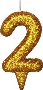 Vela de Aniversário Siba Número 2 Shine Cor Dourada com Glitter Unidade