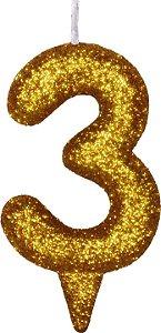 Vela de Aniversário Siba Número 3 Shine Cor Dourada com Glitter Unidade