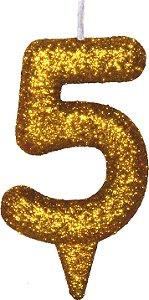 Vela de Aniversário Siba Número 5 Shine Cor Dourada com Glitter Unidade