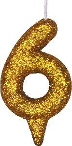 Vela de Aniversário Siba Número 6 Shine Cor Dourada com Glitter Unidade