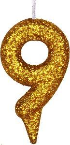 Vela de Aniversário Siba Número 9 Shine Cor Dourada com Glitter Unidade